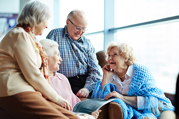 Seniors talking in a group